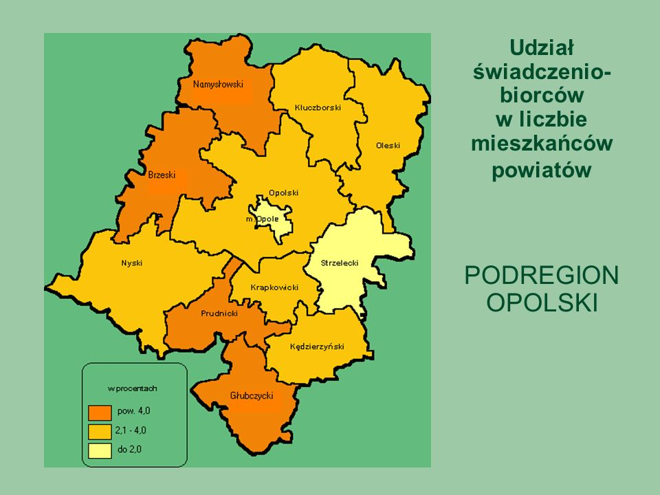 Udział świadczenio- biorców w liczbie mieszkańców powiatów PODREGION OPOLSKI