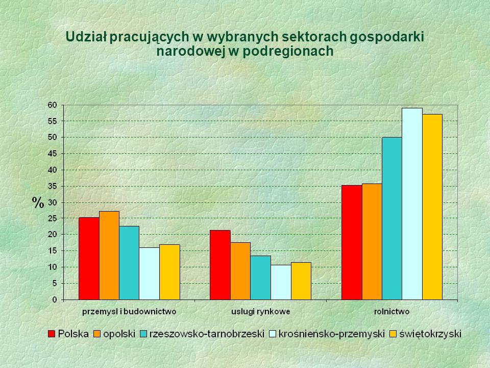 Udział pracujących w wybranych sektorach gospodarki narodowej w podregionach