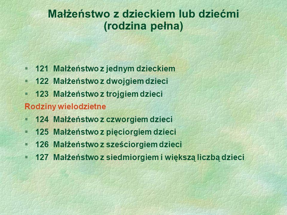 Małżeństwo z dzieckiem lub dziećmi (rodzina pełna) §121 Małżeństwo z jednym dzieckiem §122 Małżeństwo z dwojgiem dzieci §123 Małżeństwo z trojgiem dzieci Rodziny wielodzietne §124 Małżeństwo z czworgiem dzieci §125 Małżeństwo z pięciorgiem dzieci §126 Małżeństwo z sześciorgiem dzieci §127 Małżeństwo z siedmiorgiem i większą liczbą dzieci