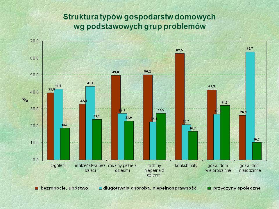 Struktura typów gospodarstw domowych wg podstawowych grup problemów