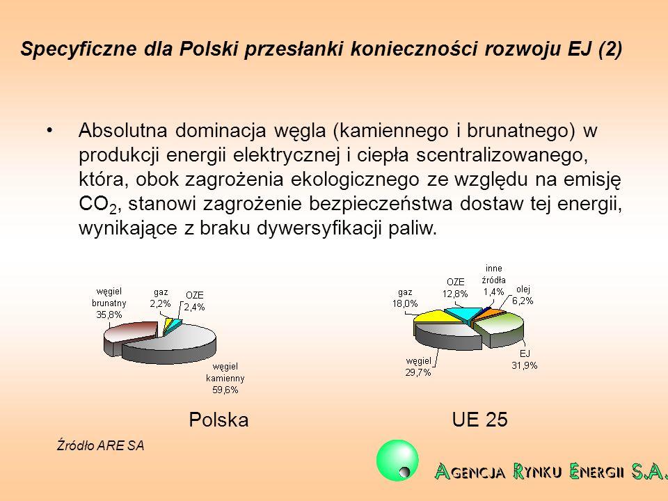 Specyficzne dla Polski przesłanki konieczności rozwoju EJ (2) Absolutna dominacja węgla (kamiennego i brunatnego) w produkcji energii elektrycznej i c