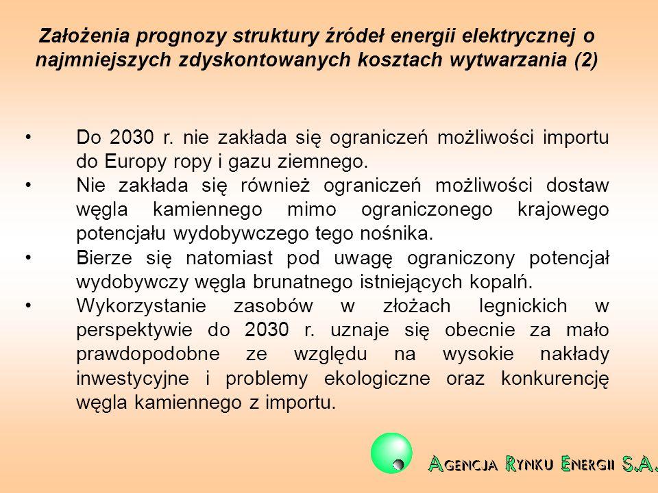 Założenia prognozy struktury źródeł energii elektrycznej o najmniejszych zdyskontowanych kosztach wytwarzania (2) Do 2030 r. nie zakłada się ogranicze