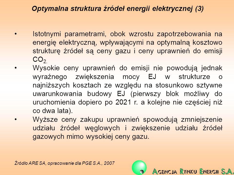 Optymalna struktura źródeł energii elektrycznej (3) Istotnymi parametrami, obok wzrostu zapotrzebowania na energię elektryczną, wpływającymi na optyma