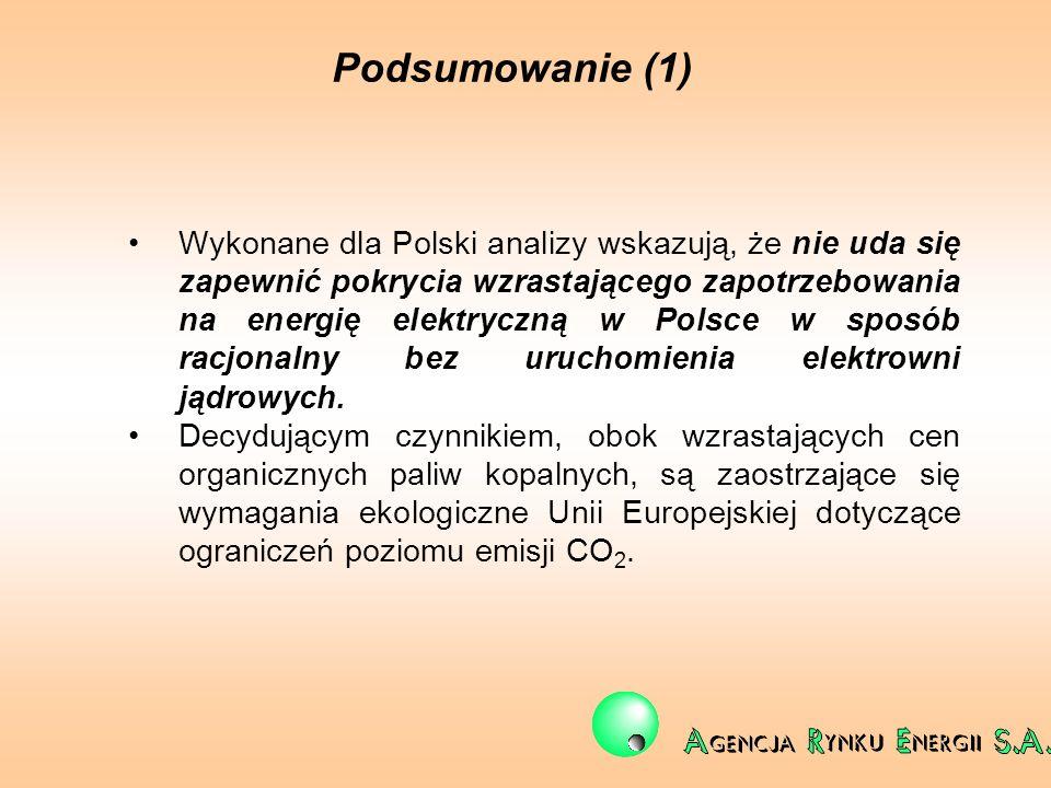 Podsumowanie (1) Wykonane dla Polski analizy wskazują, że nie uda się zapewnić pokrycia wzrastającego zapotrzebowania na energię elektryczną w Polsce