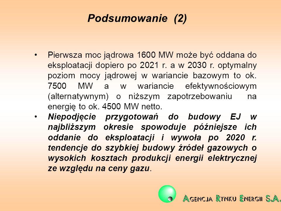 Podsumowanie (2) Pierwsza moc jądrowa 1600 MW może być oddana do eksploatacji dopiero po 2021 r. a w 2030 r. optymalny poziom mocy jądrowej w warianci