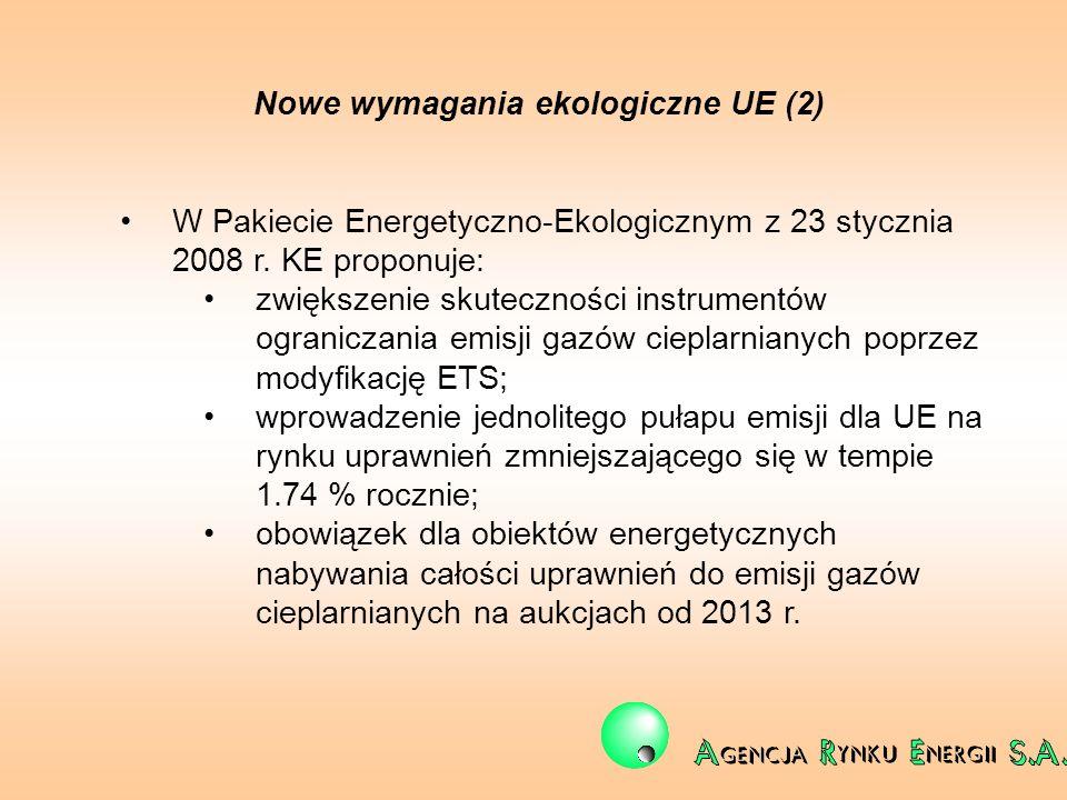 Nowe wymagania ekologiczne UE (2) W Pakiecie Energetyczno-Ekologicznym z 23 stycznia 2008 r. KE proponuje: zwiększenie skuteczności instrumentów ogran