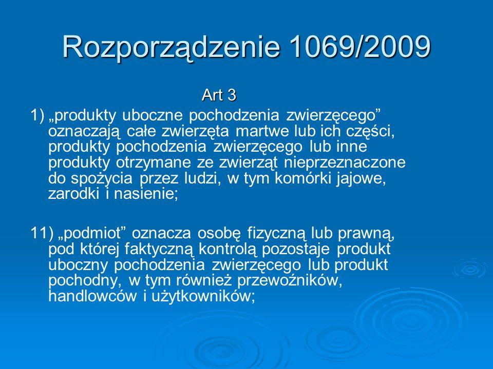 Rozporządzenie 1069/2009 Art 3 1) produkty uboczne pochodzenia zwierzęcego oznaczają całe zwierzęta martwe lub ich części, produkty pochodzenia zwierz