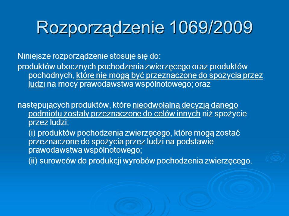 Rozporządzenie 1069/2009 Niniejsze rozporządzenie stosuje się do: produktów ubocznych pochodzenia zwierzęcego oraz produktów pochodnych, które nie mog