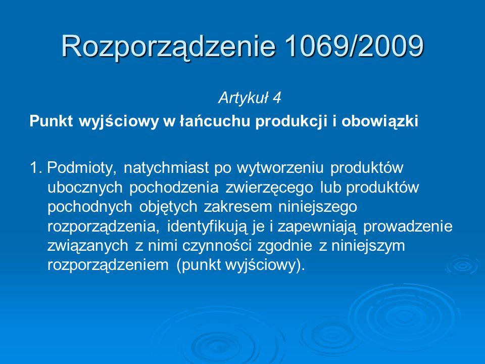 Rozporządzenie 1069/2009 Artykuł 4 Punkt wyjściowy w łańcuchu produkcji i obowiązki 1. Podmioty, natychmiast po wytworzeniu produktów ubocznych pochod