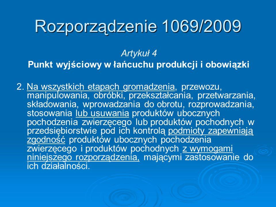Rozporządzenie 1069/2009 Artykuł 4 Punkt wyjściowy w łańcuchu produkcji i obowiązki 2. Na wszystkich etapach gromadzenia, przewozu, manipulowania, obr