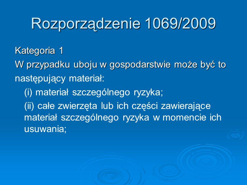 Rozporządzenie 1069/2009 Kategoria 1 W przypadku uboju w gospodarstwie może być to następujący materiał: (i) materiał szczególnego ryzyka; (ii) całe z