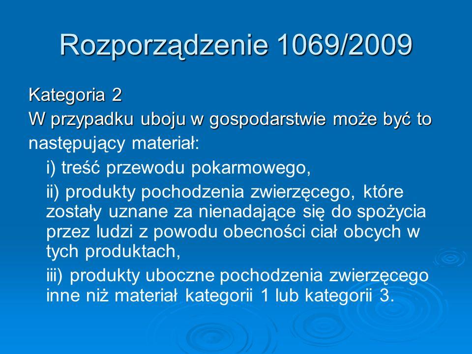 Rozporządzenie 1069/2009 Kategoria 2 W przypadku uboju w gospodarstwie może być to następujący materiał: i) treść przewodu pokarmowego, ii) produkty p