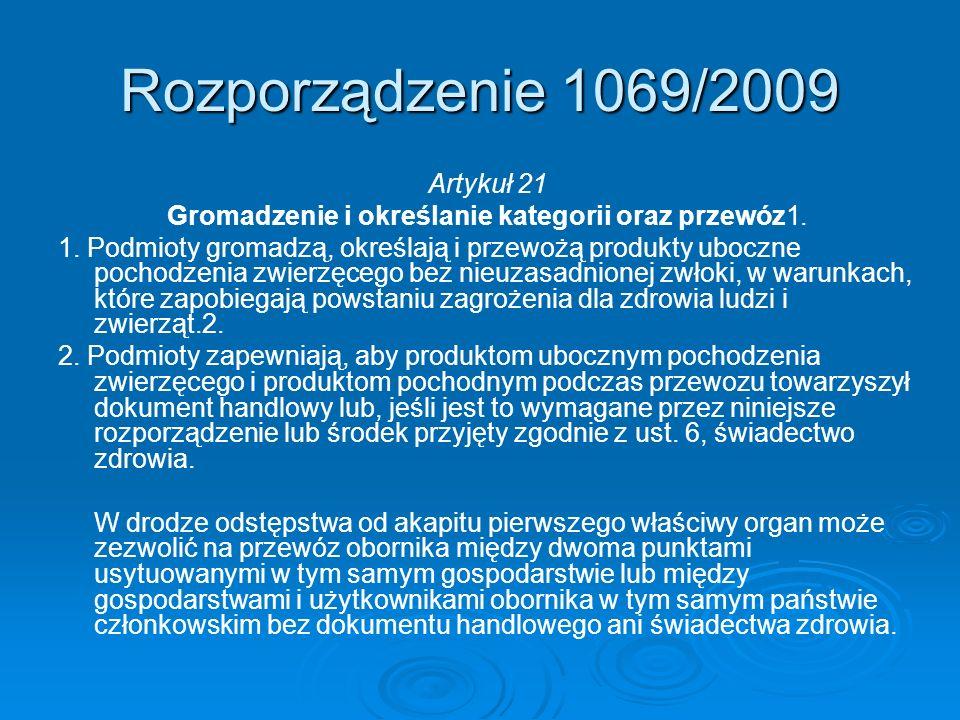 Rozporządzenie 1069/2009 Artykuł 21 Gromadzenie i określanie kategorii oraz przewóz1. 1. Podmioty gromadzą, określają i przewożą produkty uboczne poch
