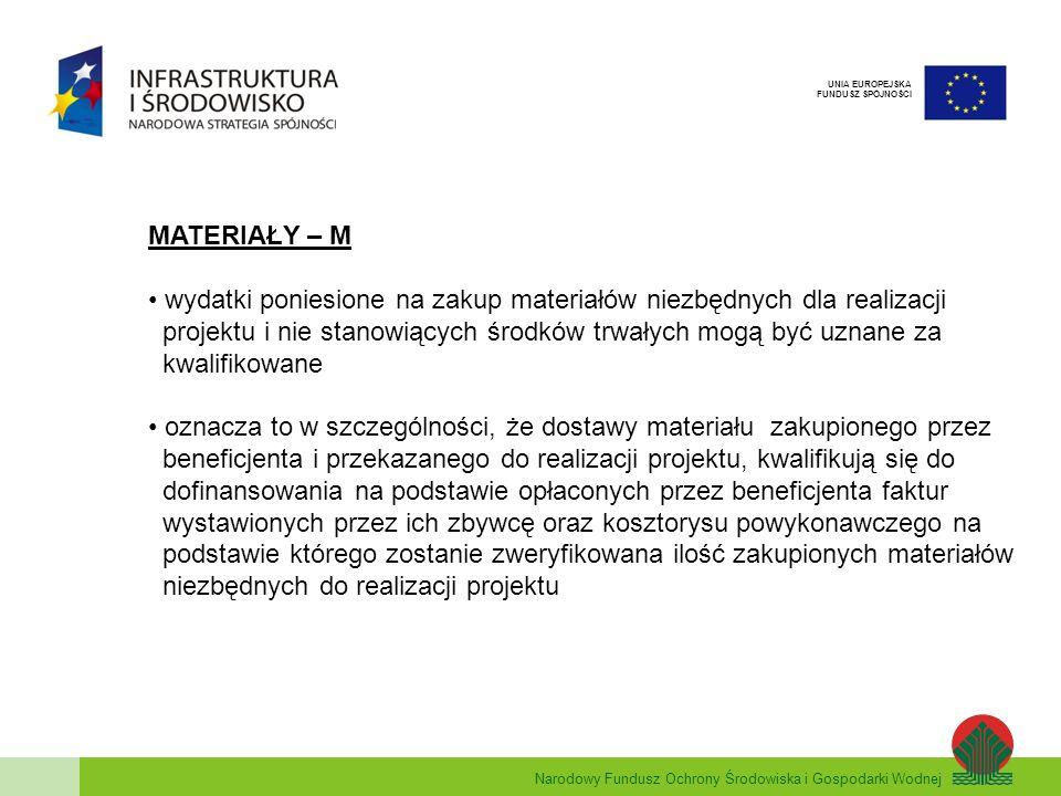 Narodowy Fundusz Ochrony Środowiska i Gospodarki Wodnej UNIA EUROPEJSKA FUNDUSZ SPÓJNOŚCI MATERIAŁY – M wydatki poniesione na zakup materiałów niezbęd