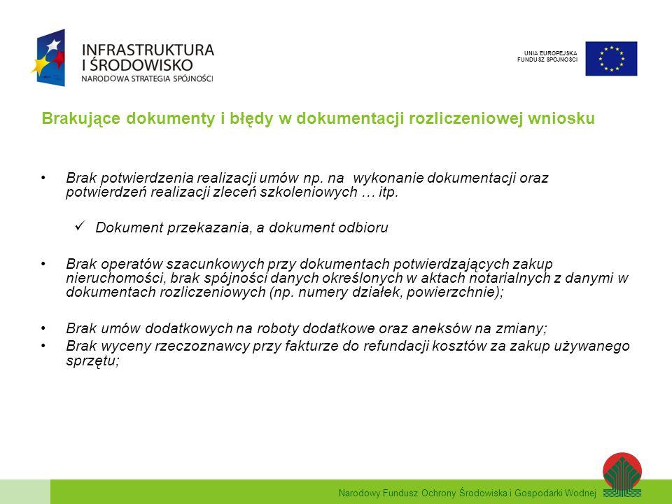 Narodowy Fundusz Ochrony Środowiska i Gospodarki Wodnej UNIA EUROPEJSKA FUNDUSZ SPÓJNOŚCI Brakujące dokumenty i błędy w dokumentacji rozliczeniowej wn