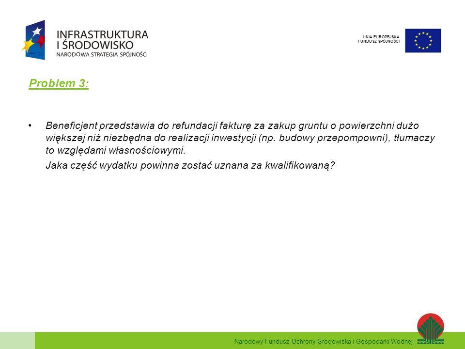 Narodowy Fundusz Ochrony Środowiska i Gospodarki Wodnej UNIA EUROPEJSKA FUNDUSZ SPÓJNOŚCI Problem 3: Beneficjent przedstawia do refundacji fakturę za