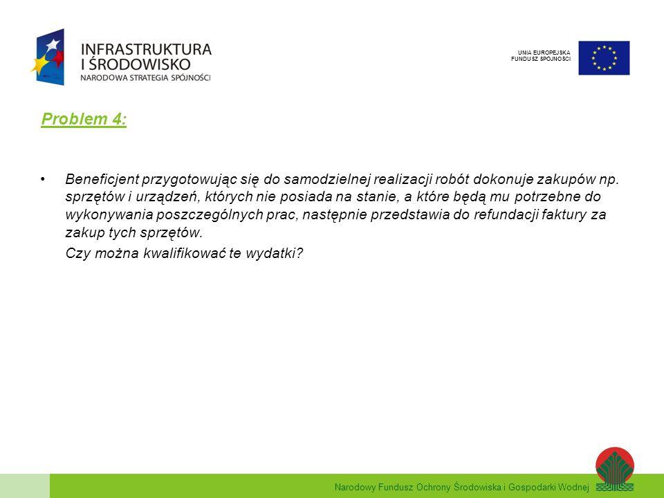 Narodowy Fundusz Ochrony Środowiska i Gospodarki Wodnej UNIA EUROPEJSKA FUNDUSZ SPÓJNOŚCI Problem 4: Beneficjent przygotowując się do samodzielnej rea