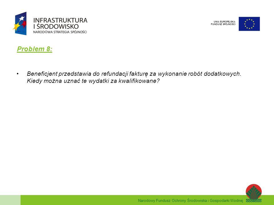 Narodowy Fundusz Ochrony Środowiska i Gospodarki Wodnej UNIA EUROPEJSKA FUNDUSZ SPÓJNOŚCI Problem 8: Beneficjent przedstawia do refundacji fakturę za