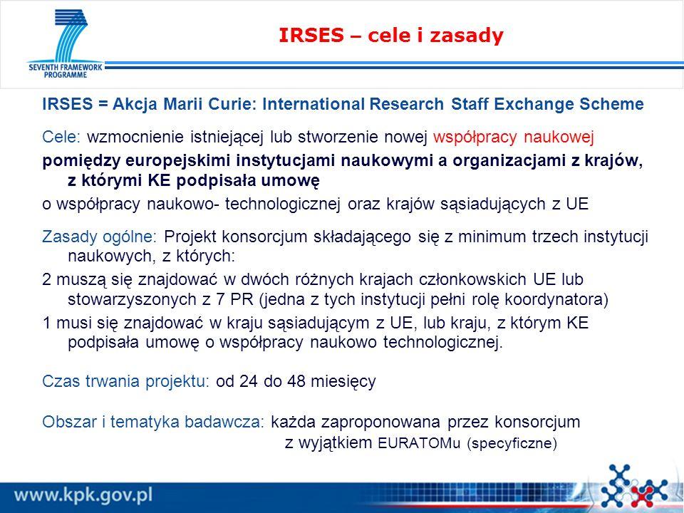 IRSES = Akcja Marii Curie: International Research Staff Exchange Scheme Cele: wzmocnienie istniejącej lub stworzenie nowej współpracy naukowej pomiędzy europejskimi instytucjami naukowymi a organizacjami z krajów, z którymi KE podpisała umowę o współpracy naukowo- technologicznej oraz krajów sąsiadujących z UE Zasady ogólne: Projekt konsorcjum składającego się z minimum trzech instytucji naukowych, z których: 2 muszą się znajdować w dwóch różnych krajach członkowskich UE lub stowarzyszonych z 7 PR (jedna z tych instytucji pełni rolę koordynatora) 1 musi się znajdować w kraju sąsiadującym z UE, lub kraju, z którym KE podpisała umowę o współpracy naukowo technologicznej.