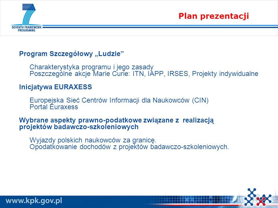 Program Szczegółowy Ludzie Charakterystyka programu i jego zasady Poszczególne akcje Marie Curie: ITN, IAPP, IRSES, Projekty indywidualne Inicjatywa EURAXESS Europejska Sieć Centrów Informacji dla Naukowców (CIN) Portal Euraxess Wybrane aspekty prawno-podatkowe związane z realizacją projektów badawczo-szkoleniowych Wyjazdy polskich naukowców za granicę.