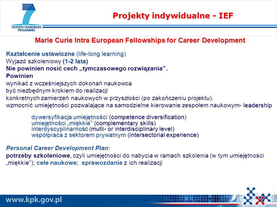 Marie Curie Intra European Fellowships for Career Development Kształcenie ustawiczne (life-long learning) (1-2 lata) Wyjazd szkoleniowy (1-2 lata) Nie powinien nosić cech tymczasowego rozwiązania.