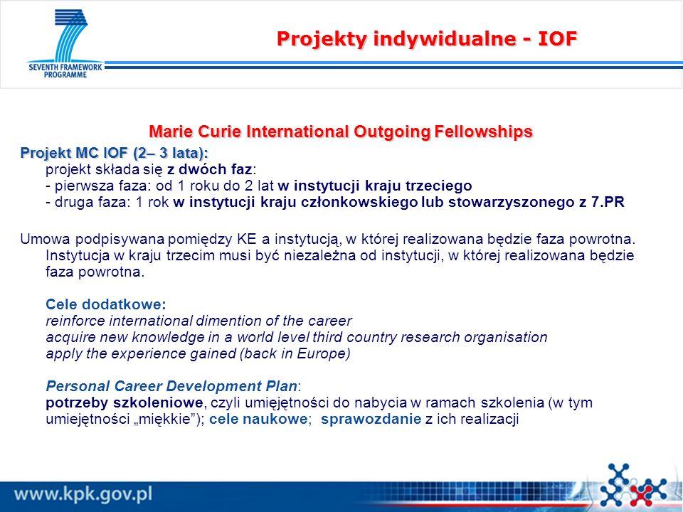 Marie Curie International Outgoing Fellowships Projekt MC IOF (2– 3 lata): Projekt MC IOF (2– 3 lata): projekt składa się z dwóch faz: - pierwsza faza: od 1 roku do 2 lat w instytucji kraju trzeciego - druga faza: 1 rok w instytucji kraju członkowskiego lub stowarzyszonego z 7.PR Umowa podpisywana pomiędzy KE a instytucją, w której realizowana będzie faza powrotna.