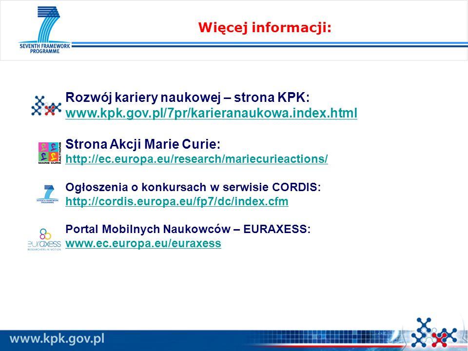 Więcej informacji: Rozwój kariery naukowej – strona KPK: www.kpk.gov.pl/7pr/karieranaukowa.index.html Strona Akcji Marie Curie: http://ec.europa.eu/research/mariecurieactions/ http://ec.europa.eu/research/mariecurieactions/ Ogłoszenia o konkursach w serwisie CORDIS: http://cordis.europa.eu/fp7/dc/index.cfm Portal Mobilnych Naukowców – EURAXESS: www.ec.europa.eu/euraxess