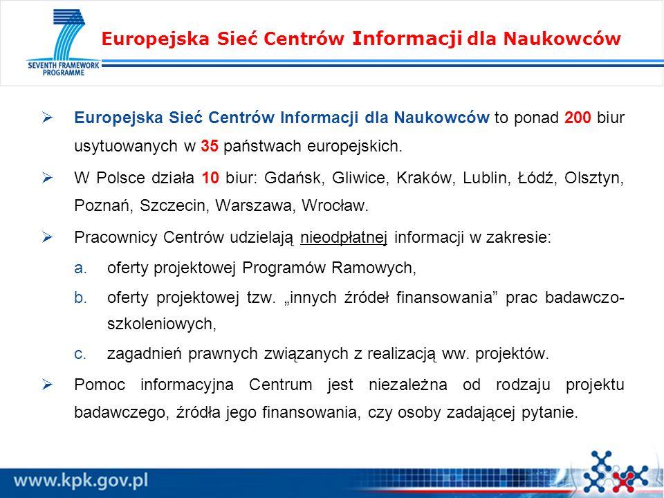 Europejska Sieć Centrów Informacji dla Naukowców to ponad 200 biur usytuowanych w 35 państwach europejskich. W Polsce działa 10 biur: Gdańsk, Gliwice,