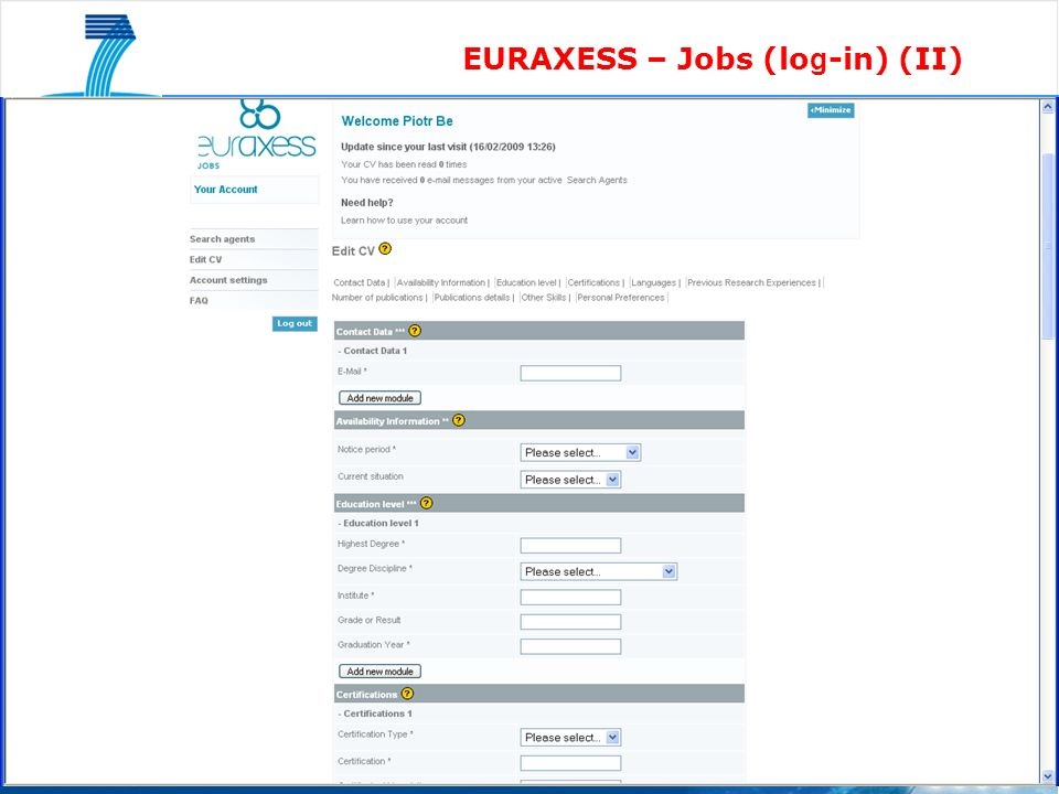 EURAXESS – Jobs (lo g -in) (II)
