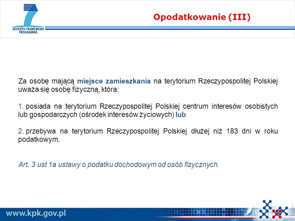 Za osobę mającą miejsce zamieszkania na terytorium Rzeczypospolitej Polskiej uważa się osobę fizyczną, która: 1. posiada na terytorium Rzeczypospolite