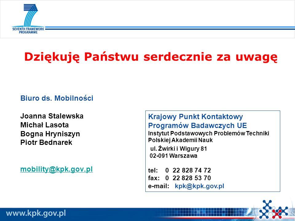 Dziękuję Państwu serdecznie za uwagę Krajowy Punkt Kontaktowy Programów Badawczych UE Instytut Podstawowych Problemów Techniki Polskiej Akademii Nauk