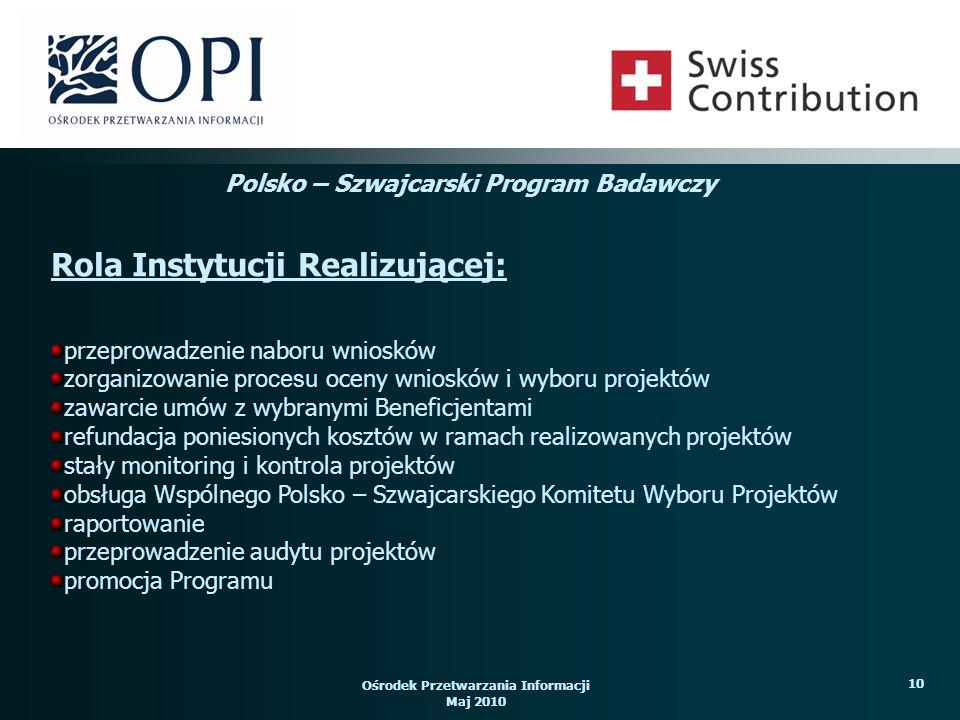 Ośrodek Przetwarzania Informacji Maj 2010 10 przeprowadzenie naboru wniosków zorganizowanie procesu oceny wniosków i wyboru projektów zawarcie umów z wybranymi Beneficjentami refundacja poniesionych kosztów w ramach realizowanych projektów stały monitoring i kontrola projektów obsługa Wspólnego Polsko – Szwajcarskiego Komitetu Wyboru Projektów raportowanie przeprowadzenie audytu projektów promocja Programu Rola Instytucji Realizującej: Polsko – Szwajcarski Program Badawczy
