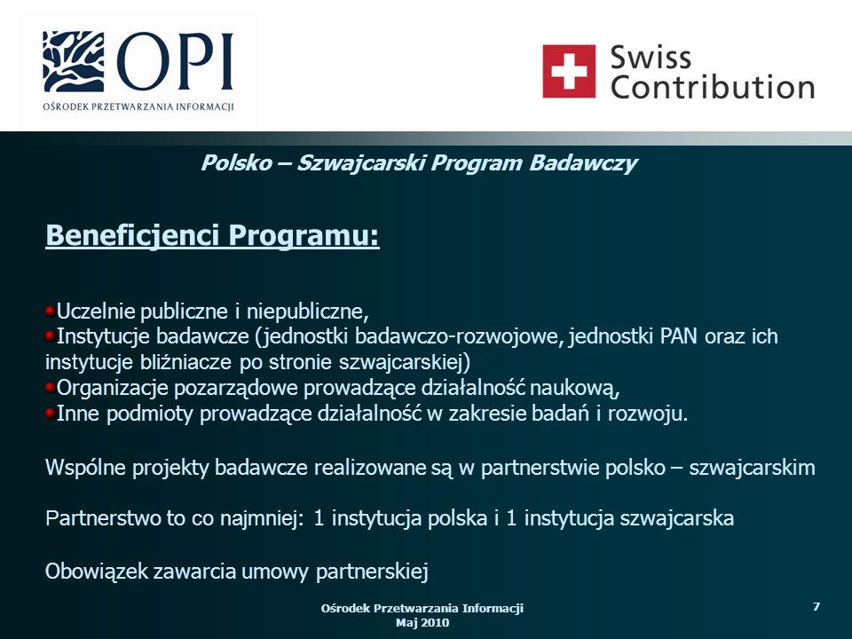 Ośrodek Przetwarzania Informacji Maj 2010 8 Lista kwalifikowanych instytucji szwajcarskich określona przez stronę szwajcarską dostępna jest pod adresem: http://www.erweiterungsbeitrag.admin.ch/en/Homehttp://www.erweiterungsbeitrag.admin.ch/en/Home oraz http://www.swiss-contribution.admin.ch/poland/pl/Home/Swiss_Partnershttp://www.swiss-contribution.admin.ch/poland/pl/Home/Swiss_Partners Platforma poszukiwana partnerów polskich dla jednostek szwajcarskich jest dostępna pod adresem: www.partners.opi.org.plwww.partners.opi.org.pl Platforma poszukiwania partnerów szwajcarskich dla jednostek polskich dostępna jest pod adresem: www.contribution-enlargement.admin.ch/en/Homewww.contribution-enlargement.admin.ch/en/Home/Selection_procedure/ Finding_non_commercial_partners_in_Switzerland/Market_place_for_non_commerci al_partners Partnerzy: Polsko – Szwajcarski Program Badawczy