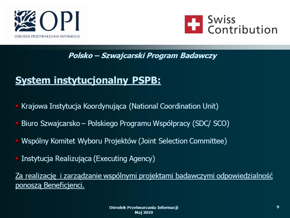 Ośrodek Przetwarzania Informacji Maj 2010 9 Krajowa Instytucja Koordynująca (National Coordination Unit) Biuro Szwajcarsko – Polskiego Programu Współpracy (SDC/ SCO) Wspólny Komitet Wyboru Projektów (Joint Selection Committee) Instytucja Realizująca (Executing Agency) Za realizację i zarządzanie wspólnymi projektami badawczymi odpowiedzialność ponoszą Beneficjenci.