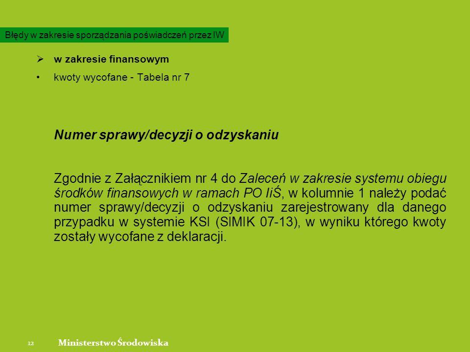 w zakresie finansowym kwoty wycofane - Tabela nr 7 Numer sprawy/decyzji o odzyskaniu Zgodnie z Załącznikiem nr 4 do Zaleceń w zakresie systemu obiegu środków finansowych w ramach PO IiŚ, w kolumnie 1 należy podać numer sprawy/decyzji o odzyskaniu zarejestrowany dla danego przypadku w systemie KSI (SIMIK 07-13), w wyniku którego kwoty zostały wycofane z deklaracji.