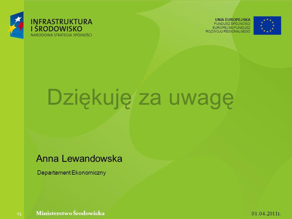 UNIA EUROPEJSKA FUNDUSZ SPÓJNOŚCI EUROPEJSKI FUNDUSZ ROZWOJU REGIONALNEGO Anna Lewandowska 01.04.2011r.