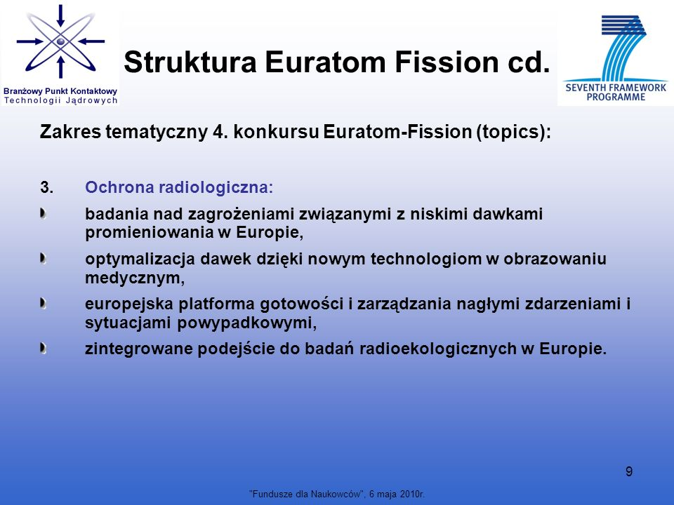 Fundusze dla Naukowców , 6 maja 2010r.10 Struktura Euratom Fission cd.