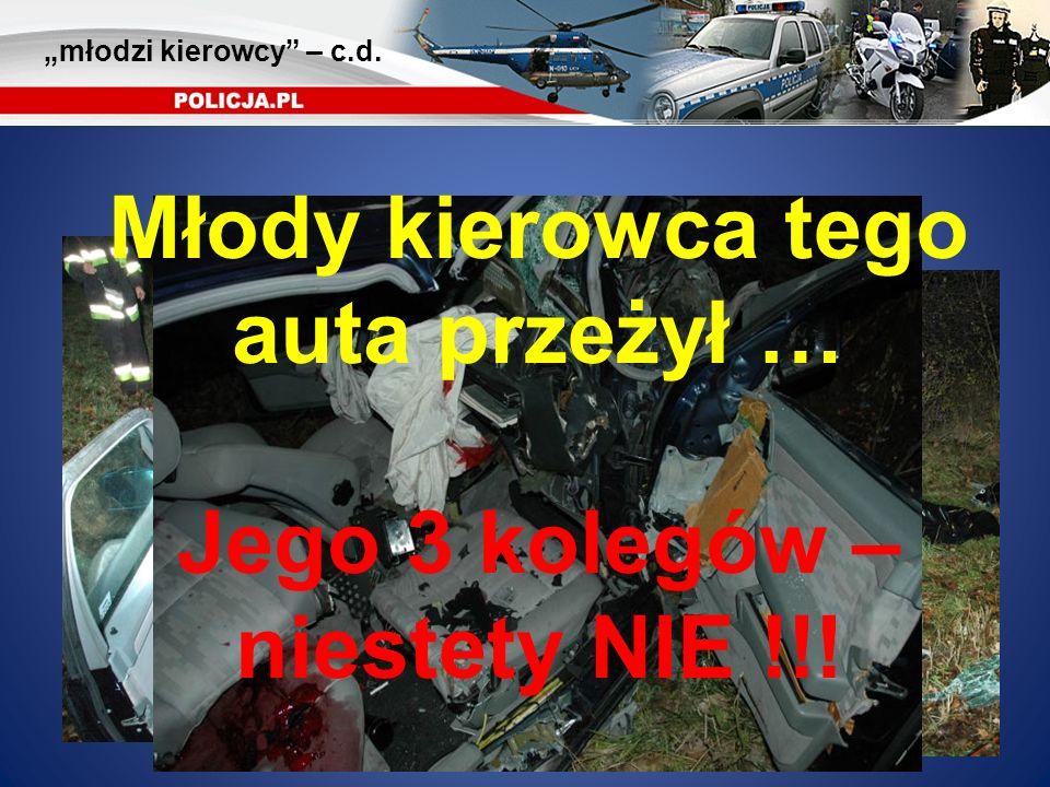 Młody kierowca tego auta przeżył … Jego 3 kolegów – niestety NIE !!! młodzi kierowcy – c.d.