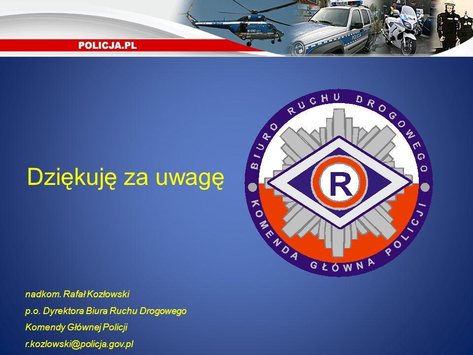 Dziękuję za uwagę nadkom. Rafał Kozłowski p.o. Dyrektora Biura Ruchu Drogowego Komendy Głównej Policji r.kozlowski@policja.gov.pl