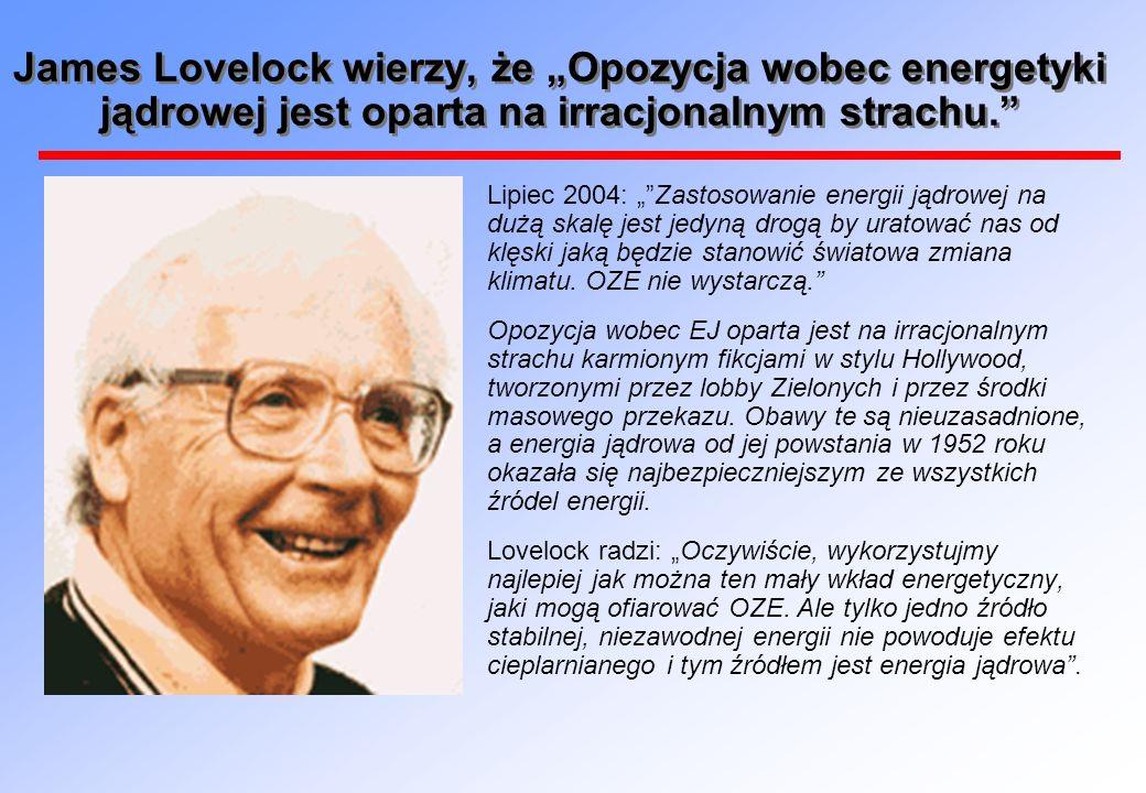 James Lovelock wierzy, że Opozycja wobec energetyki jądrowej jest oparta na irracjonalnym strachu.