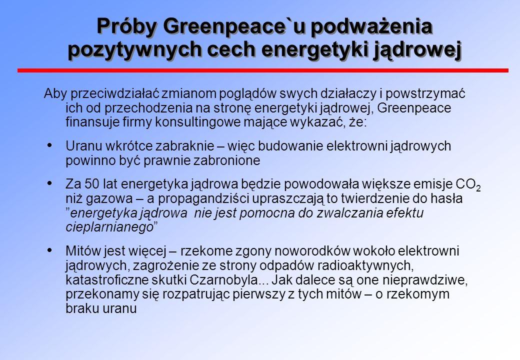 Próby Greenpeace`u podważenia pozytywnych cech energetyki jądrowej Aby przeciwdziałać zmianom poglądów swych działaczy i powstrzymać ich od przechodzenia na stronę energetyki jądrowej, Greenpeace finansuje firmy konsultingowe mające wykazać, że: Uranu wkrótce zabraknie – więc budowanie elektrowni jądrowych powinno być prawnie zabronione Za 50 lat energetyka jądrowa będzie powodowała większe emisje CO 2 niż gazowa – a propagandziści upraszczają to twierdzenie do hasłaenergetyka jądrowa nie jest pomocna do zwalczania efektu cieplarnianego Mitów jest więcej – rzekome zgony noworodków wokoło elektrowni jądrowych, zagrożenie ze strony odpadów radioaktywnych, katastroficzne skutki Czarnobyla...
