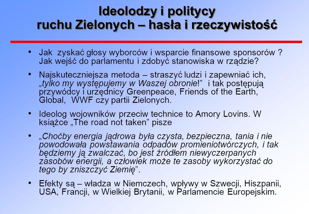 Ideolodzy i politycy ruchu Zielonych – hasła i rzeczywistość Jak zyskać głosy wyborców i wsparcie finansowe sponsorów .