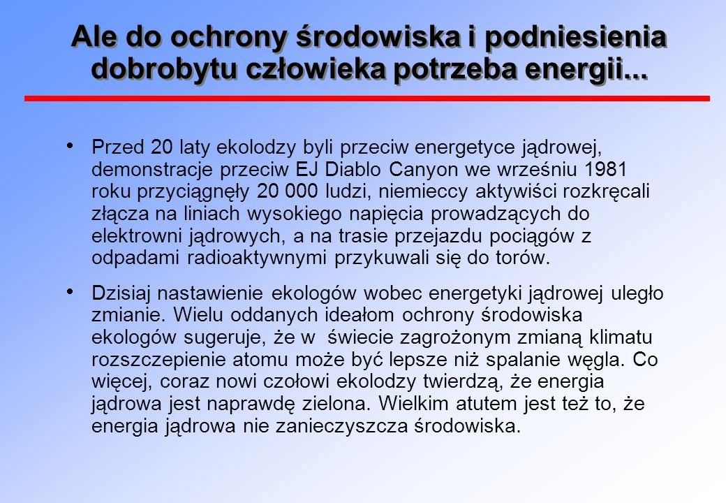 Ale do ochrony środowiska i podniesienia dobrobytu człowieka potrzeba energii...