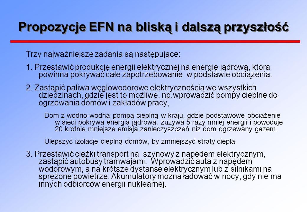 Propozycje EFN na bliską i dalszą przyszłość Trzy najważniejsze zadania są następujące: 1.
