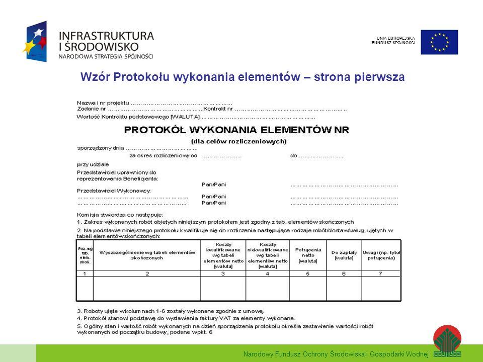 Narodowy Fundusz Ochrony Środowiska i Gospodarki Wodnej UNIA EUROPEJSKA FUNDUSZ SPÓJNOŚCI Wzór Protokołu wykonania elementów – strona pierwsza