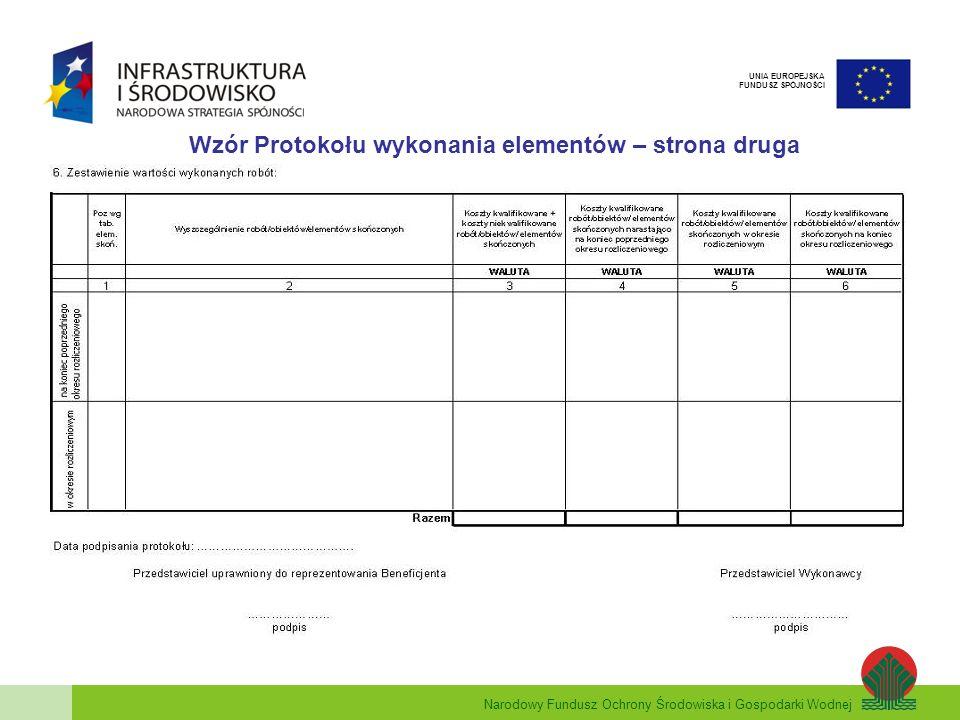 Narodowy Fundusz Ochrony Środowiska i Gospodarki Wodnej UNIA EUROPEJSKA FUNDUSZ SPÓJNOŚCI Wzór Protokołu wykonania elementów – strona druga