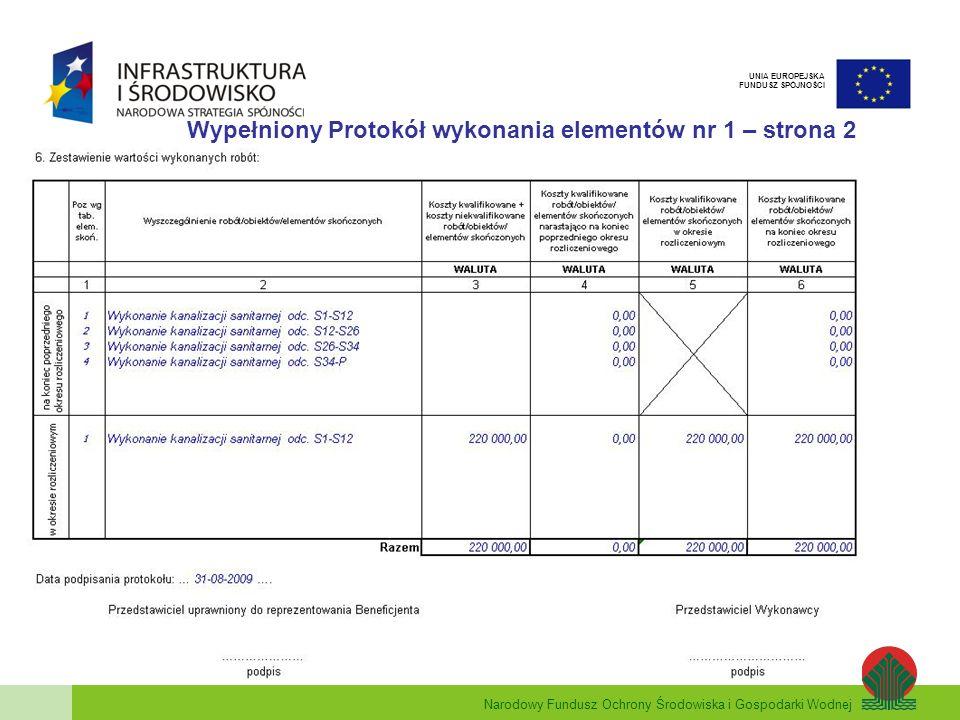 Narodowy Fundusz Ochrony Środowiska i Gospodarki Wodnej UNIA EUROPEJSKA FUNDUSZ SPÓJNOŚCI Wypełniony Protokół wykonania elementów nr 1 – strona 2