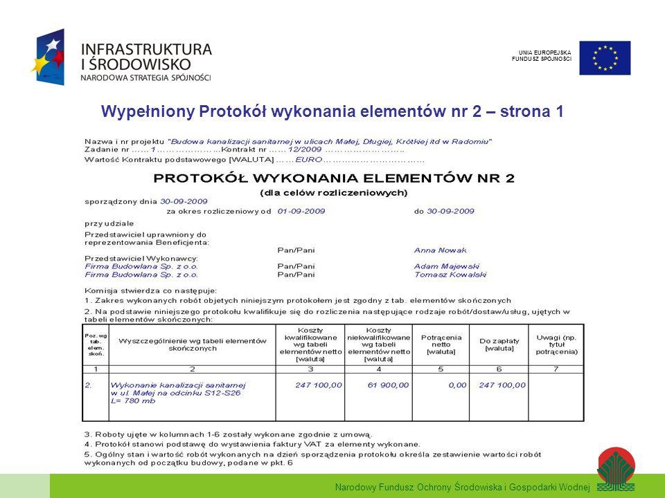 Narodowy Fundusz Ochrony Środowiska i Gospodarki Wodnej UNIA EUROPEJSKA FUNDUSZ SPÓJNOŚCI Wypełniony Protokół wykonania elementów nr 2 – strona 1
