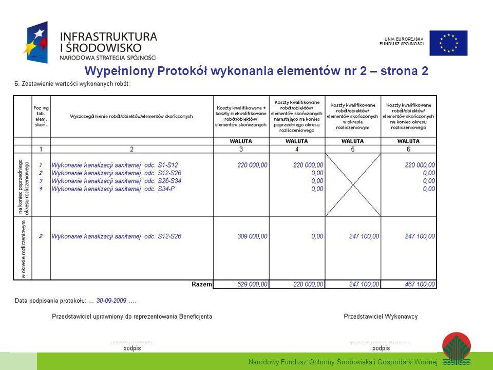 Narodowy Fundusz Ochrony Środowiska i Gospodarki Wodnej UNIA EUROPEJSKA FUNDUSZ SPÓJNOŚCI Wypełniony Protokół wykonania elementów nr 2 – strona 2