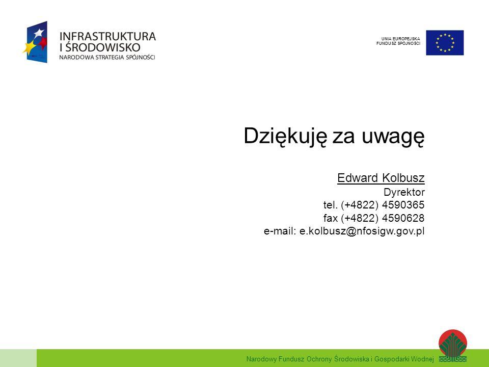 Narodowy Fundusz Ochrony Środowiska i Gospodarki Wodnej UNIA EUROPEJSKA FUNDUSZ SPÓJNOŚCI Dziękuję za uwagę Edward Kolbusz Dyrektor tel. (+4822) 45903